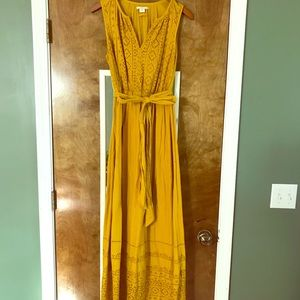 Anthropologie mustard yellow, eyelet maxi dress
